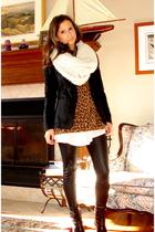 H&M scarf - Newlook jacket - danier sweater - Urban Outfitters dress - Zara boot