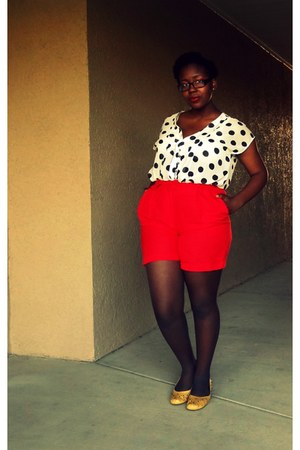 red Thrift Store shorts - polka dot Ross shirt - studded yellow Forever21 flats