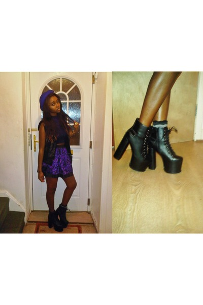 platform boots Missguided boots - sailor Zara hat - skater Miss Selfridge skirt