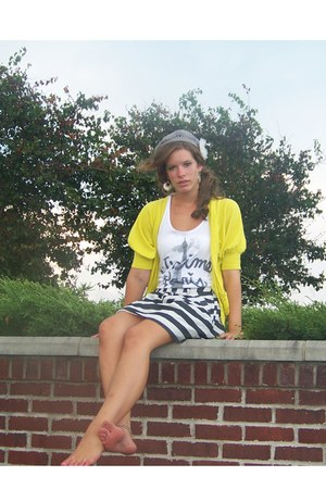 yellow Forever 21 cardigan - Forever 21 top - Forever 21 skirt