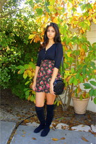 otk Ninewest boots - Chanel bag - floral Field Day skirt