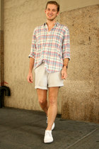 aquamarine plaid J Crew shirt - light blue seersucker J Crew shorts