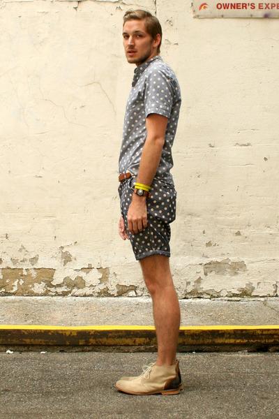 asos shorts - J Shoes boots - asos shirt - neon wrap asos bracelet