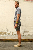 asos shorts - J Shoes boots - asos shirt - neon wrap asos bracelet