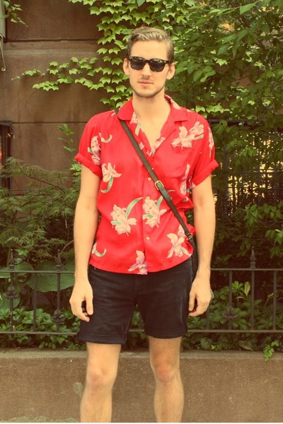 floral vintage shirt - chukka asos boots - vintage leather coach bag