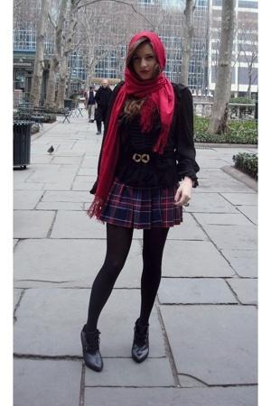 from kazakstan scarf - Zara blouse - vintage belt - H&M boots