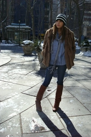 celine vinatge blouse - Uniqlo jeans - Vinatge coat - Vinatge shoes - Vinatge sc
