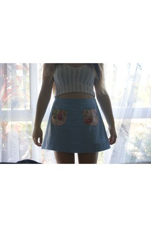 sky blue light denim Accessorize skirt