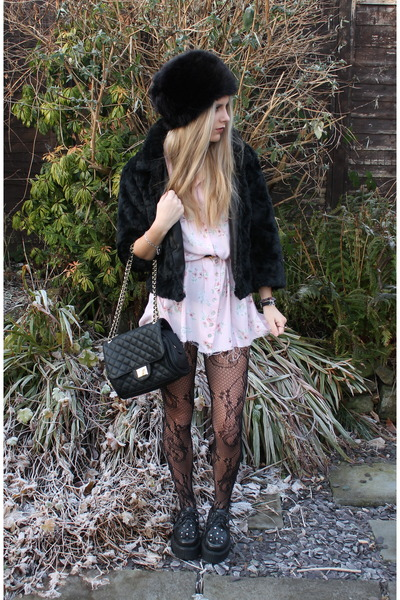 black H&M hat - light pink thrifted dress - black H&M jacket - black Marc B bag