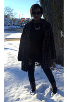 plaid woal Charlotte Russe coat - black combat boots - dark wash jeans