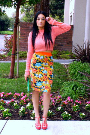 green romwe skirt - green Ebay bag - salmon studded Forever 21 heels