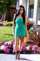 green Forever 21 dress - bronze Ebay bag - black Shoedazzle heels