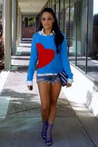 blue Target sweater - sky blue Forever 21 bag - navy romwe shorts