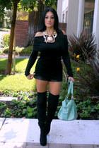 black Charlotte Russe boots - aquamarine JustFab bag