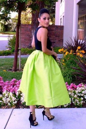 lime green pleated skirt Sheinside skirt - gold Ebay bag - black JustFab heels