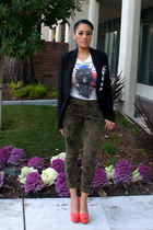 dark green camo Zara pants - black Forever 21 blazer - black zebra style2bb3 bag