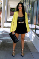 black OASAP skirt - yellow romwe blazer - black JustFab heels
