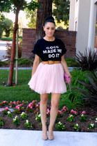 light pink tulle Forever 21 skirt - beige sam edelman heels