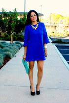 blue Dress Lily dress - aquamarine Forever 21 bag - black Shoedazzle heels