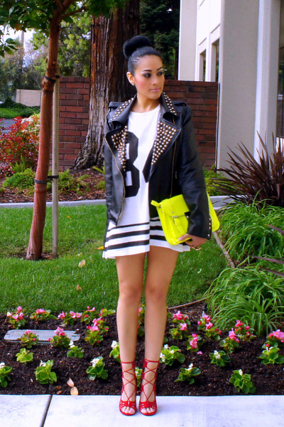 yellow Forever 21 bag - white Forever 21 dress - black 6ks jacket