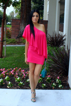 hot pink Mart of China dress - turquoise blue Claires bag - JustFab heels