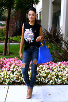 navy distressed TJ Maxx jeans - blue TJ Maxx bag - black chicnova t-shirt
