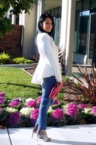 navy TJ Maxx jeans - white romwe blazer - hot pink Love Culture bag - Zara heels