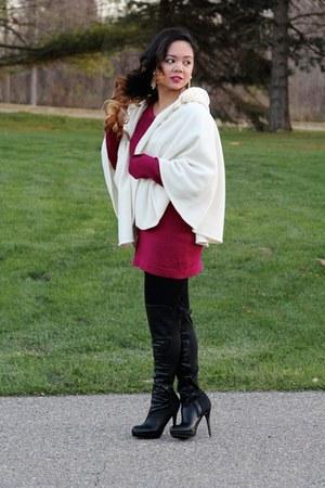 black knee-high boots Charlotte Russe boots - maroon dress - cream fleece cape