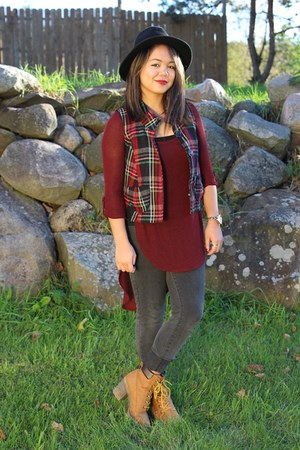 maroon plaid vest - tan dirty laundry DSW boots - charcoal gray Forever 21 jeans