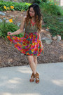 Tan-rue-21-shoes-red-thrifted-skirt-olive-green-thrifted-top