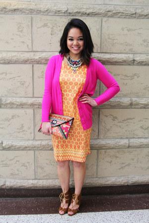 hot pink Forever 21 cardigan - orange aztec print dress