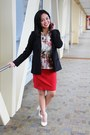 Black-blazer-red-cotton-skirt-ivory-floral-top-white-forever-21-heels