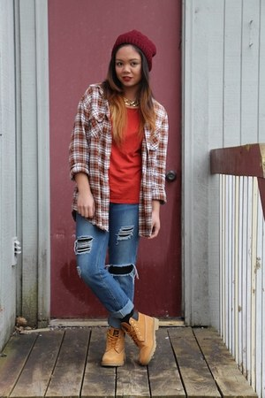 burnt orange thrifted top - nude Timberland boots