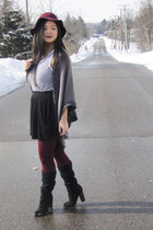 black tassel Forever 21 shoes - maroon Lord & Taylor hat