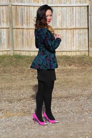 teal thrifted blazer - black cotton tights - pink thrifted heels