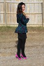 Teal-thrifted-blazer-black-cotton-tights-pink-thrifted-heels