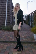 black MuuBaa jacket - green Zara dress - black Henry Holland tights - black H&M