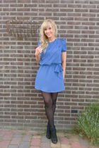 blue vintage Billy jack for her dress - black wedges Zara shoes