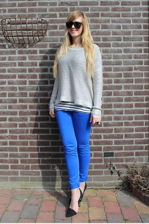 blue Zara pants - silver H&M Trend jumper