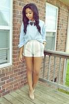 light pink stripes shorts - light blue button up top