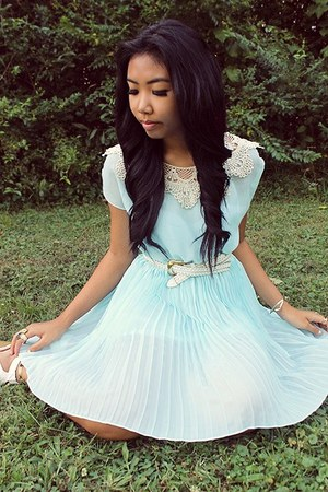 light blue chiffon OASAP dress