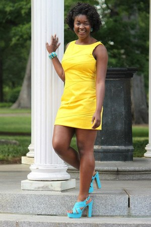 yellow calvin klein dress - aquamarine suede Mossimo heels