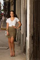 banana republic skirt - Gap shirt - ted baker bag - Schutz heels