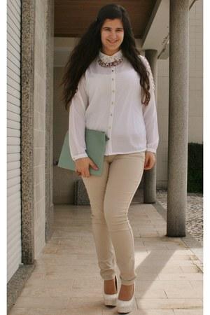 light blue Primark bag - camel H&M pants - ivory BLANCO blouse