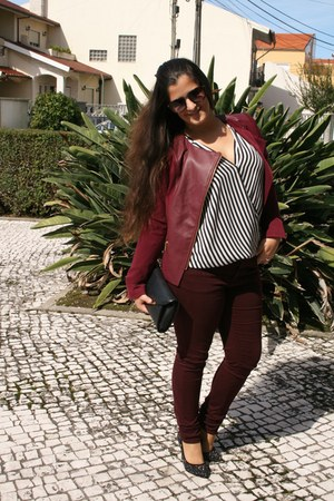 crimson Lefties blazer - black Primark bag - crimson firmoo sunglasses