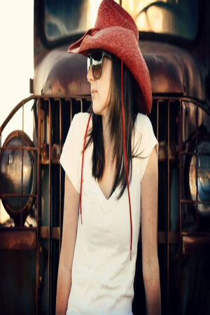 red Cowboy Hat hat - white Forever21 shirt - gray Forever21 glasses