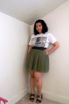 white t-shirt - green Forever 21 skirt - gray