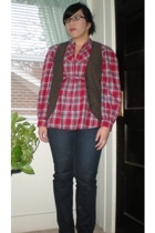 Old Navy vest - Old Navy shirt - Delias jeans - Secondhand boots