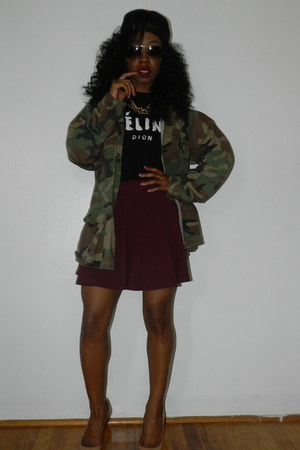 thrift jacket - Urban Outfitters hat - shopjeeencom shirt - H&M skirt