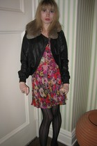 31 phillip lim jacket - Rebecca Taylor dress - Vintage costume necklace - Vintag